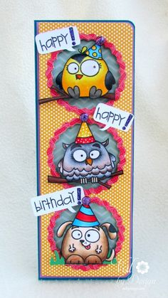 Val by Design: Dancing Critters on a Happy Birthday Card! (action wobbles)