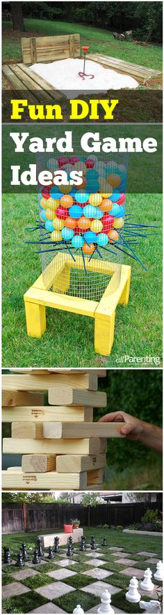 DIY Backyard Games that are fun for families. Life size Jenga, Backyard Chess and more ideas.