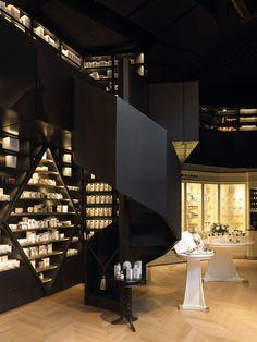 Perfume shop Senteurs d'Ailleurs in Brussels, Belgium. Black staircase.