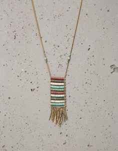 Necklace of sequin tubes and metallic threads - Jewellery - Bershka Serbia
