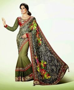 Picture of Delicate Off White And Olive Green Designer Saree