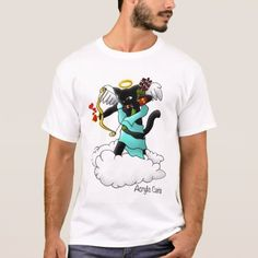 Valentine's Day Coal Black Cupid Cat T-Shirt - valentines day gifts gift idea diy customize special couple love
