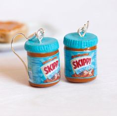 Peanut+butter+earrings+Skippy+inspired+kawaii+miniature+by+Zoozim,+$16.00
