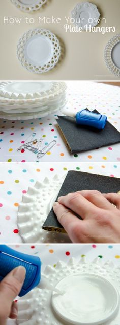 How to Make Plate Hangers. Cheap + easy. Just use super glue and safety pins. This is brilliant!