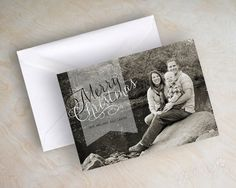 5x7 holiday christmas card digital file with 1 photo - full size photo with transparent ribbon by appleberryink, $15.00