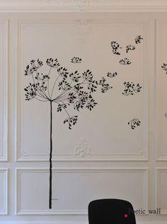 "Stickers grand format ""Le grand souffle"" MEL ET KIO - Atelier du passage Mural Wall Art, Mural Painting, Wall Decor Stickers, Beautiful Wall, Paint Designs, Botanical Art, Interior Design Inspiration, Line Drawing, Decoration"