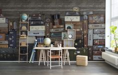 A+favorite+wallpaper+from+Rebel+Walls,+Stacked+Suitcases,+Heap!+#rebelwalls+#wallpaper+#wallmurals
