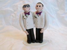 Groom and Groom, Hand Sculpted Custom Wedding Cake Topper, Purple, White DInner Jackets, Glasses on Etsy
