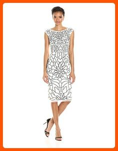 41f040c286a82 Adrianna Papell Women's Cap Sleeve Floral Beaded Cocktail Dress,  Ivory/Black, 14 -