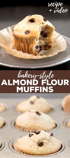 These almond flour muffins are just like the generous muffins you see in a bakery, but way lower carb and only lightly sweet. Make them with chocolate chips, whatever mix-in you like, or nothing at all! #almondflour #glutenfree #gf #dairyfree #lowcarb