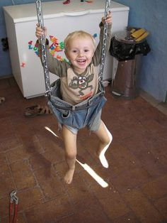 Kids swing made from a old jeans