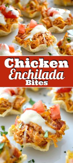 These Chicken Enchilada Bites are great little bite-sized chicken appetizers. With chicken cooked in the slow cooker and simple ingredients, this easy chicken recipe will spice up your Game Day and help feed your hungry crowd! Chicken Appetizers, Yummy Appetizers, Easy Bite Size Appetizers, Party Appetizer Recipes, Mexican Appetizers Easy, Slow Cooker Appetizers, Bite Size Snacks, Chicken Enchiladas, Easy Chicken Recipes