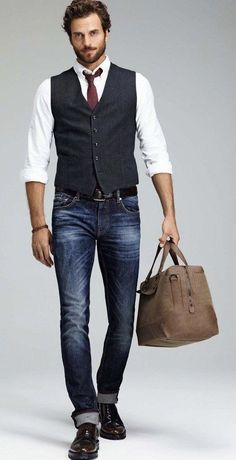 Mac Jeans - Fall business casual with a navy vest maroon tie.- Mac Jeans – F. - Mac Jeans – Fall business casual with a navy vest maroon tie…- Mac Jeans – Fall business casua - Mens Fashion Suits, Mens Suits, Casual Jeans, Men Casual, Casual Fall, Casual Tie, Casual Menswear, Casual Blazer, Casual Shirts