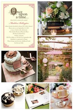 Storybook Baby Shower  Here is an idea that would be perfect for a whimsical outdoor baby shower; a storybook theme! Touches of fairy tale fantasy will make this theme magical yet classic.Guests can bring their favorite childhood book as a gift for the mum-to-be to add to the babys library.