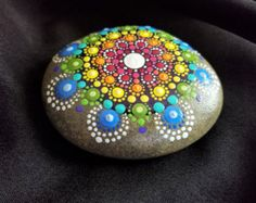 Large Hand Painted Stone Dot Art Painted Rock by P4MirandaPitrone
