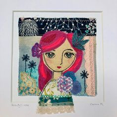 'Beauty's Rose' is an original art piece combining paint, fabric collage and embroidery. Inspired by spring and Shakespeare, this is a one of a kind piece that would bring joy to any home. This piece has been lovingly made by me in my home in the West of Ireland. Firstly, I hand painted the fabric Freehand Machine Embroidery, Hand Embroidery, Nativity Characters, Paint Fabric, Fairy Dolls, Vintage Lace, Shakespeare, Textile Art, Ireland