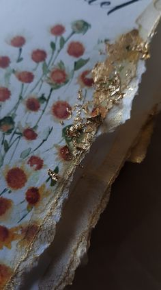 Hand torn - deckled edges with gold foil leaf for a floral watercolour ceremony booklet Homemade Wedding Invitations, Luxury Wedding Invitations, Watercolor Wedding Invitations, Floral Watercolor, Watercolour, Illustrated Wedding Invitations, Floral Wedding Stationery, Country Wedding Inspiration, French Wedding