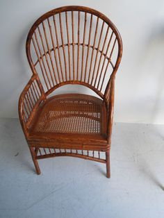 Hollywood Regency Rattan Wicker Throne chair Mid Century chippendale kwid eames | eBay