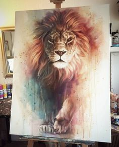 Gorgeous Lion painting with awesome depth and color. Lion of Judah painting. Lion Painting, Painting & Drawing, Animal Drawings, Cool Drawings, Amazing Drawings, Art Drawings Beautiful, Lion Art, Lions, Amazing Art