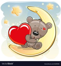 Illustration about Cute Teddy Bear with heart on the moon. Illustration of childbirth, childhood, happy - 78660616 Cute Baby Owl, Baby Owls, Cartoon Cartoon, Teddy Bear With Heart, Giraffe Drawing, Small Canvas Paintings, Teddy Bear Pictures, Cute Teddy Bears, Dachshund Love