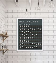 Destinations Board Art Print: Not spending enough time at the airport? Give your wall some travel love with this black and white departure board with customisable cities.