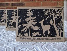 Christmas Note Cards Forest Silhouette set of 20