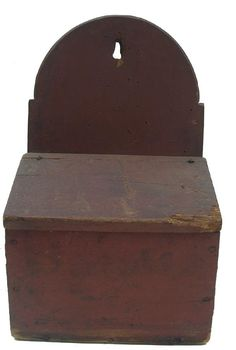 """Early 19th century New England Wall Box, with the original dry red paint, tombstone arch back , cater pin hinges. all square nail construction, the wood is white pine. all original , Measurements are: 9 1/2"""" wide x 6 1/2"""" deep x 16"""" tall"""