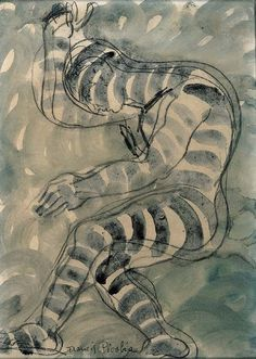 Francis Picabia (French, 1879-1953), Homme dansant. Gouache, grey wash and charcoal on paper, 31.7 x 23.5cm.
