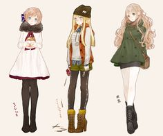 anime girl, christmas, cold, cute, design, dress, fashion, girl, hat, illustration, jacket, kawaii, otaku, pretty, styles, winter
