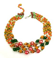 Four Strand Glass Bead Necklace Orange Green by Vintageimagine