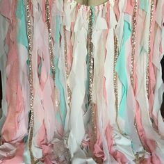 Ready in 2 weeks.  Need it ASAP? Inquire about Rush Orders!  Mint, pink, and peach fabric along side gold strips of sparkly glitter and rose gold sequins. Soft, light, and magical. Perfect for a gender reveal party, strung behind a cake table, or in a nursery. Its light, sweet and sparkly...  ***Matching Banner!*** https://www.etsy.com/listing/481335221/mint-pink-peach-high-chair-banner-skirt?ref=listing-shop-header-3  ***Matching Tutu!***   ***More Backdrops…