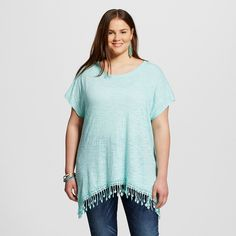 Women's Plus Size Short Sleeve Top With Fringe