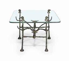 table basse trapezoidale modele aux cerfs et aux chiens diego giacometti