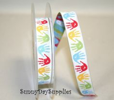 Hand Print Jacquard Ribbon Trim ~ 100% Polyester~ Kids ~ Made In Spain ~ 5/8 in. wide ~ 1 Yard ~ School, Crafts, Upholstery ~ Symbol for PAS