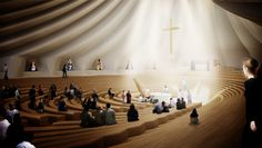 Interior of the Miami Chapel, based on an amphitheatre style seating arrangement. 27 'Pleats' make up the exterior shell, which each represent one of the Latin American Virgins