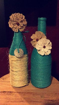 Teal and tan twine wine bottle decorations by YoungCustomCreations Twine Wine Bottles, Wrapped Wine Bottles, Wine Bottle Art, Diy Bottle, Wine Bottle Crafts, Bottles And Jars, Baby Food Jar Crafts, Mason Jar Gifts, Bottle Painting