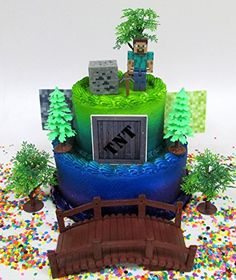 Inspired Picture of Minecraft Birthday Cake Toppers . Minecraft Birthday Cake Toppers Cake Toppers Minecraft Birthday Set Featuring Steve And Themed Themed Birthday Cakes, Themed Cupcakes, Fun Cupcakes, Birthday Cake Toppers, Birthday Cupcakes, Birthday Party Decorations, 8th Birthday, Minecraft Cake Toppers, Minecraft Cupcakes