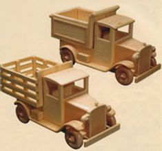 Hauling Trucks You can build this set of 2 old fashioned hauling trucks from our detailed full size pattern. One is a dump truck, the other a stake truck. Each measures about 15