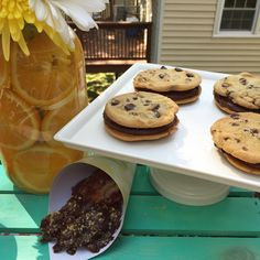 Bourbon Ganache Chocolate Chip Cookie Sandwiches and Chocolate Bourbon Dipped Bacon