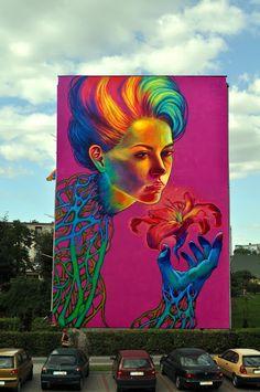 """Spellbound"" - A Huge Street Art Mural by Polish artist Natalia Rak Murals Street Art, Street Art Graffiti, Mural Art, Urban Street Art, 3d Street Art, Street Artists, Graffiti Artists, Color Street, Banksy"