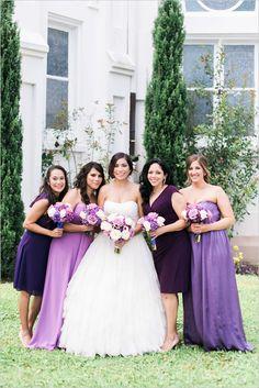 Mismatched purple bridesmaid dresses @weddingchicks