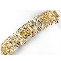 Designer Cushion with Rounds CZ Linky Bracelet, 20.5 Ct TW