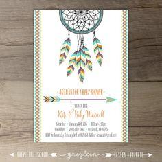 Dreamcatcher Baby Shower Invitations • Birthday • Bridal Shower Shower • arrows feathers tribal native • DIY Printable