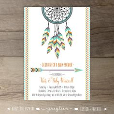 Dreamcatcher Baby Shower Invitations • Birthday • Bridal Shower Shower • arrows feathers tribal native • DIY Printable