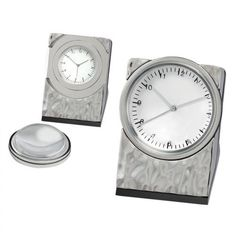 Chass Silver Hammered Clock with Magnifier - 80938