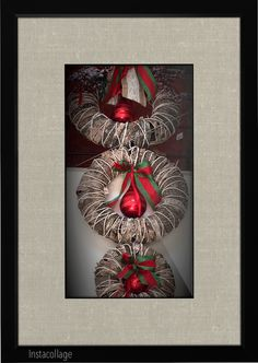 Μπαμπού στεφάνια με φλούδα και μπάλλες χριστουγεννιάτικες. Μια πολύ ιδιαίτερη διακόσμηση για τα Χριστούγεννα!!
