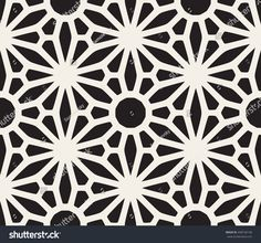 Vector Seamless Black and White Lace Floral Pattern. Abstract Geometric Background Design