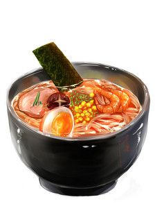 手绘水彩 美食食物 插图插画 涂鸦绘图 吃货福利 海鲜拉面