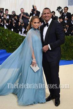 Awesome Jennifer Lopez Dresses Jennifer Lopez Caped Blue Evening Dress 2017 Met Gala - TheCelebrityDresses...