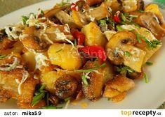 Bramborové opékačky se žampiony a Nivou recept - TopRecepty.cz Potato Salad, Food And Drink, Vegetarian, Vegan, Chicken, Cooking, Ethnic Recipes, Sweet, Foods